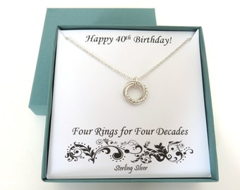 40th Birthday Gifts for Women, Textured Sterling Silver Necklace, Four Rings for Four Decades, 40th Birthday Gift, Silver Ring Necklace, MHD