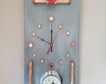 Unusual Steampunk wall clock,