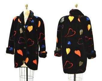 Vintage Black Faux Fur Jacket Coat with Hearts 90s pop art Rainbow Hearts Vintage Donny Brook Black with Hearts Coat Small Medium