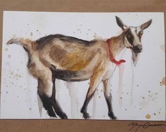 Goat Card, Goat, Watercolor Goat, Goat Art, Farm Art, Greeting Card, Blank Card, Framable Card, Hand Painted, Original Art, Animal Card
