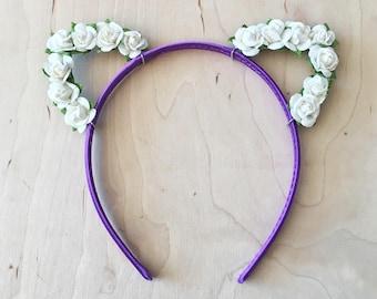 Purple Flower Cat Ears Headband