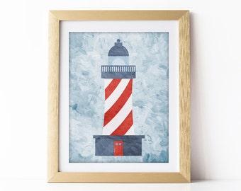 Nautical Nursery Art Print Lighthouse Blue and Red Nursery Wall Art Nautical Theme Baby Room Nautical Decor Nautical Digital Download 8x10