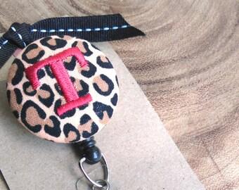 Monogram Badge Reel, Leopard Retractable Badge Holder,Badge Holder, LPN, OT, PT