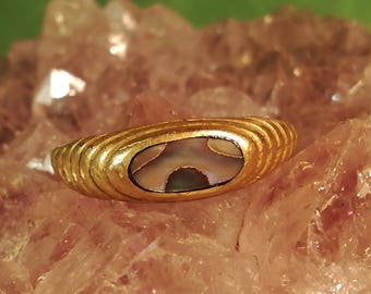 Vintage, ring, brass, brass, mother of pearl, Nacre, clam, shell