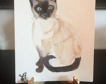 Original Siamese Cat Painting