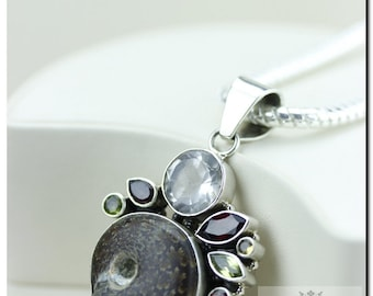 AMMONITE Fossil Clear Topaz Mozambique Garnet Peridot Citrine 925 SOLID Sterling Silver Pendant + 4mm  Chain & FREE Worldwide Shipping P61