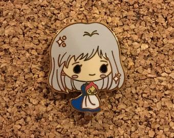 Old Sophie & Calcifer Howl's Moving Castle Chibi Studio Ghibli Miyazaki Enamel Pin