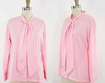 Vintage Tie Neck Blouse - Pink  - Long Sleeve - Collar  - Women's Large / Extra Large - Ready to Wear