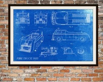 Blueprint Art of Fire Truck Fire Helmet Fire Hose 1935 Technical Drawings Engineering Drawings Patent Blue Print Art Item 0057