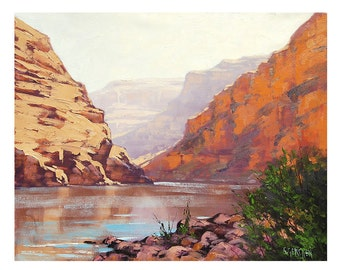 Original Oil Painting Landscape Painting of Royal Arch River by G.Gercken Award winning Artist