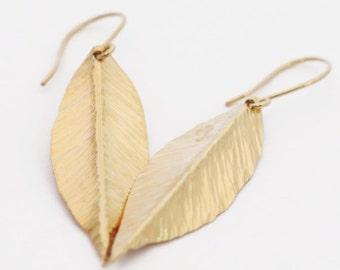 Birthday Gift, Leaf Earrings, Gold Earrings, Gold Leaf Earrings, Handcrafted Earrings, Bridesmaid Jewelry, Bohemian Jewelry, Wife Gift