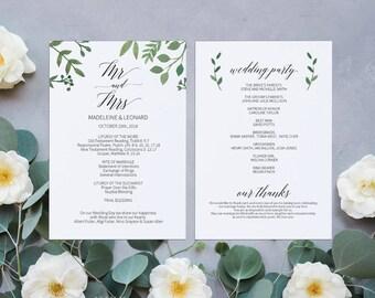 Modern Greenery Printable Wedding Program, Wedding Program Template, Wedding,Ceremony Printable Template,Editable PDF Instant Download #E023