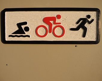 Triathlon Sign - carved, hand painted