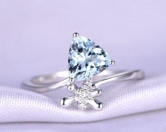 18K White Gold Ring Aquamarine Engagement Ring 1.18ct Trillion Cut Aquamarine Wedding Ring New Design dragonfly Band Prongs Set Custom