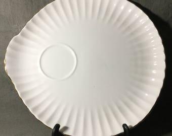 Vintage Crown Staffordshire Fine Bone China White Shell Snack Plate