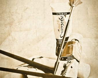 Photography Still Life, paint tubes, brushes, artist brushes, neutral, sepia, still life, studio, Modern Home Decor, Fine Art Print