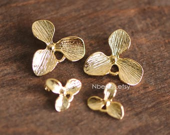 10pcs Gold plated Brass Flower Charm Connectors 10mm/ 16mm, Lead Nickel Free (GB-068)