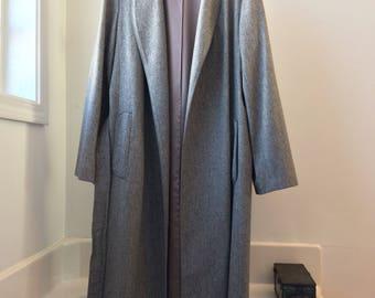 Vintage 1950 Robe style Grey Wool coat size 10
