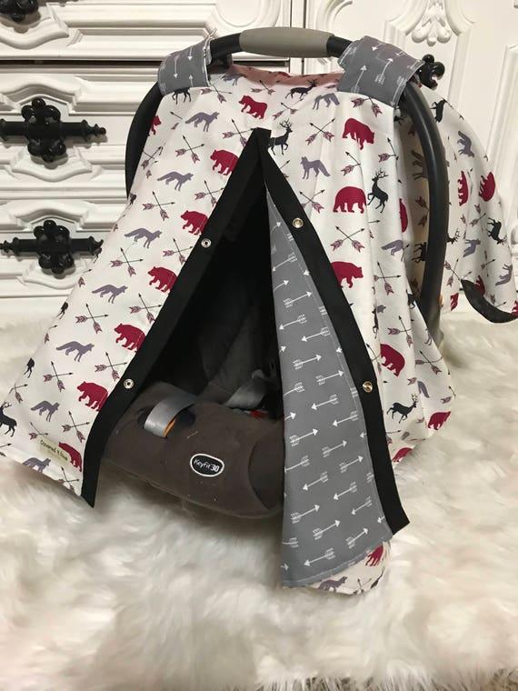 Car seat canopy , woodland , bear , deer , Fox , car seat cover