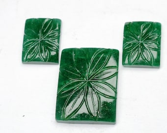 UNIQUE EMERALD CARVED, 3 pics carving emerald set, 1 emerald pendant,2 pics emerald earring carving set, 105Cts  01