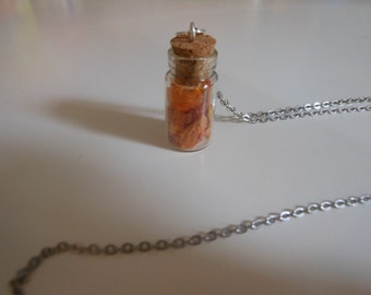 Bottle Necklace charm: Daylily
