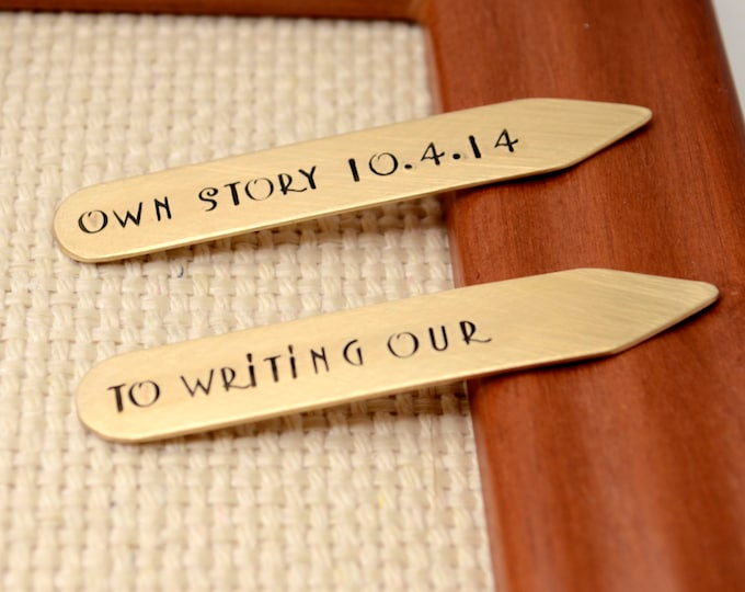Personalized Bronze Collar Stays. 8th Anniversary Gift for Men, Custom Hand Stamped  Groomsmen Best Man Gift Fathers Day Gift