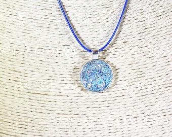 Glitter Pendant Necklace - Pixie Dust Necklace - Retro Pendant Necklace - Sparkle Necklace for Women - Something Blue - For the Bride