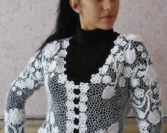 White knitted blouse Cotton Birthday gift Gift for her Handmade Gift for women Mothers day gift White blouse White blazer Womens blouses