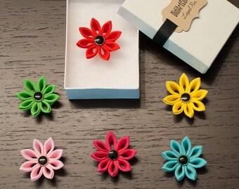 Clematis Colorful Spring Kanzashi Flower Lapel Pin