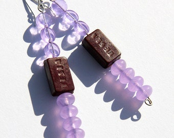 Statement Jewelry Ideas TESLA Resistor Earrings Wearable Tech Eco Friendly Antique Steampunk Lilac Glass Electronic Part Recycled Technology