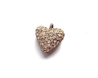 Vintage Rhinestone Puffed Heart Pendant Pave 1970s Valentine Day Gift