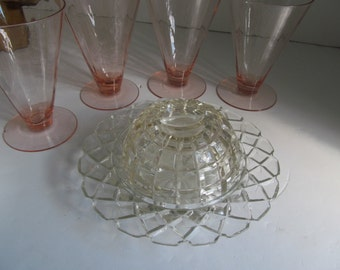 Block Pattern Dome Butter Dish Glass Covered Butter Dish Covered Cheese Dish Block Crystal Butter Dish Cover Mid Century Crystal Glassware