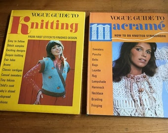 2 books Vogue guide to knitting and Macrame hardcover 1972 and 1973 diy start doing your crafts