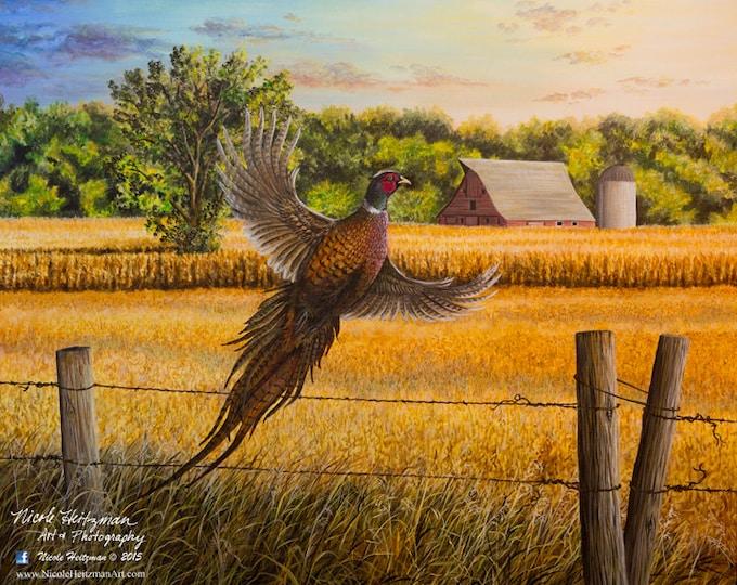 Homestead Heritage Farm Painting Gift for Dad Pheasant Art Pheasant Print Wildlife Art Farm Print Canvas Giclee Print by Nicole Heitzman