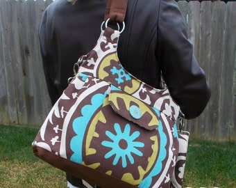 Concealed Carry Purse in Brown, Aqua and Cream/Made in MO, USA