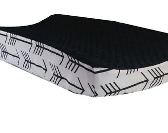 Black Arrow - Black Minky Changing Table Cover