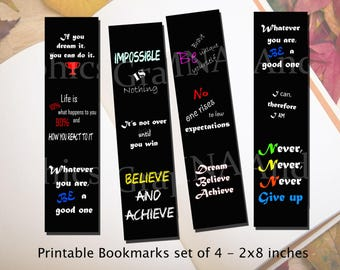 Printable Bookmark inspirational and motivational quotes, digital bookmarks, diy bookmark 2x8 inches, planner bookmark