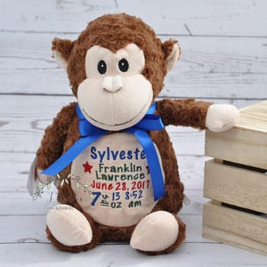 jordan shoes 4 blue and white stuffed animal monkey with a long