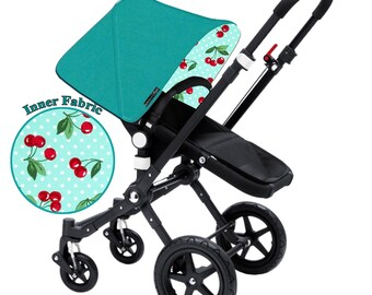 "Bugaboo Cameleon, Bee, Donkey, Frog Custom canopy hood cover ""teal with cherries"" by Stroll N Style"