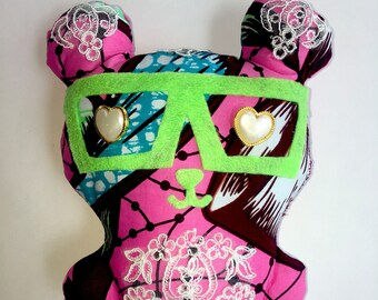 Pink African Print Teddy Bear