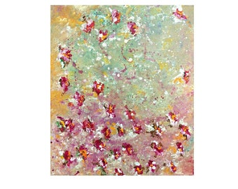 Flowers art, flowers painting art, spring flowers, small painting 20x30