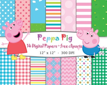 14 DIGITAL PAPERS Peppa Pig + Free Cliparts PNG, birthday