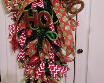 Ho, Ho, Ho and Christmas lights Wreath