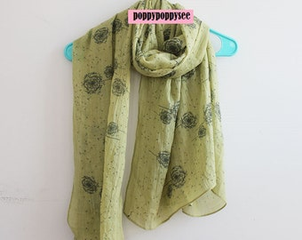 Dandelion Scarf - Spring Scarf with Dandelion Print - Beach Cover Up - Beach Sarong