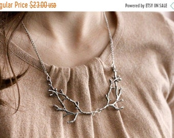 30% OFF SALE Branch / twig / antler woodland bib necklace, silver tone, twig jewelry, whimsical statement necklace, A Love Affair