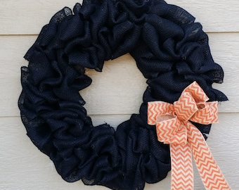 Burlap Wreath - X-Large 25 inch - Black with Orange Chevron Bow