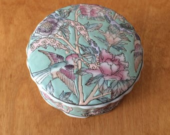 Vintage Asian Trinket Box with Floral Design - Chinese Red Pottery - Keepsake Jar