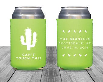 Neoprene Can Coolers, Personalized Coolies, Wedding Coolies, Bachelorette Party, Custom Wedding Can Coolers, Cactus, Can't Touch This, 1238