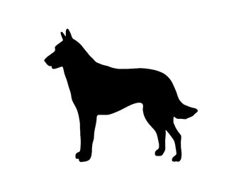 Belgian Malinois Dog Silhouette Custom Die Cut Vinyl Decal Sticker - Choose your Color & Size