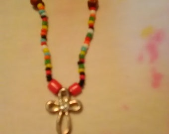One strand necklace and earrings set/ Small cross necklace/ Necklace and earrings set with gemstones